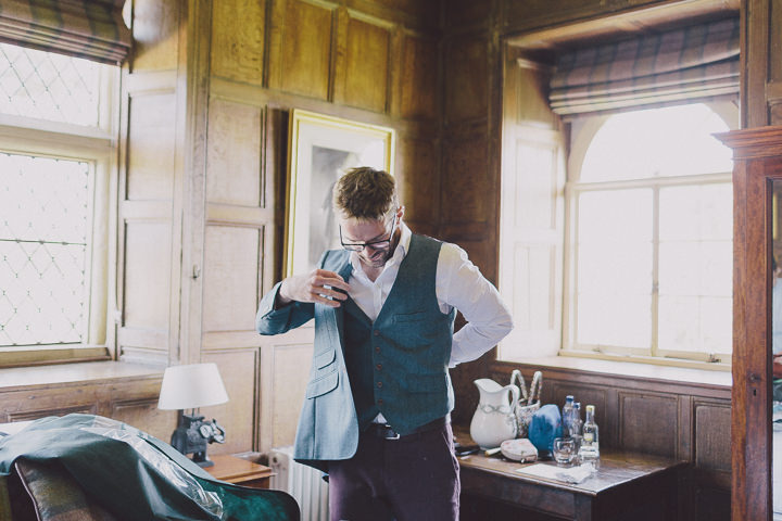Autumnal Elmore Court groom getting ready Gloucestershire Wedding By Scuffins Photography