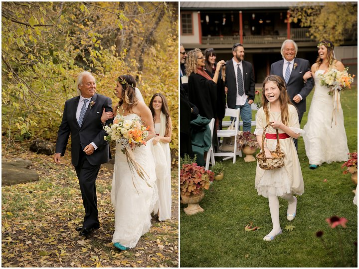 Wedding at Log Haven Restaurant in Utah bride walking to outdoor ceremony Wedding By Pepper Nix Photography