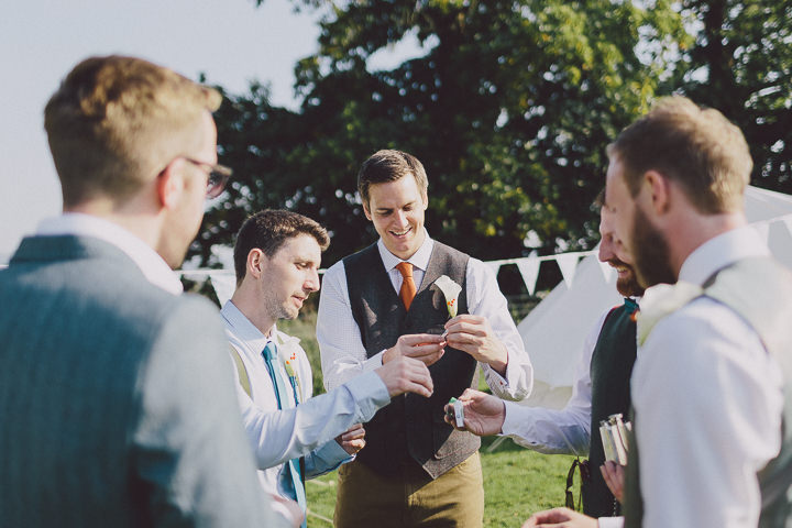 Autumnal Elmore Court groomsmen in Gloucestershire Wedding By Scuffins Photography