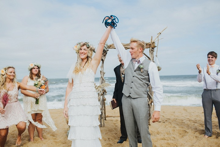 Boho Style North Carolina Beach Wedding with dreamcatchers and lots ...