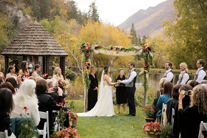 Wedding at Log Haven Restaurant in Utah with outdoor ceremony Wedding By Pepper Nix Photography