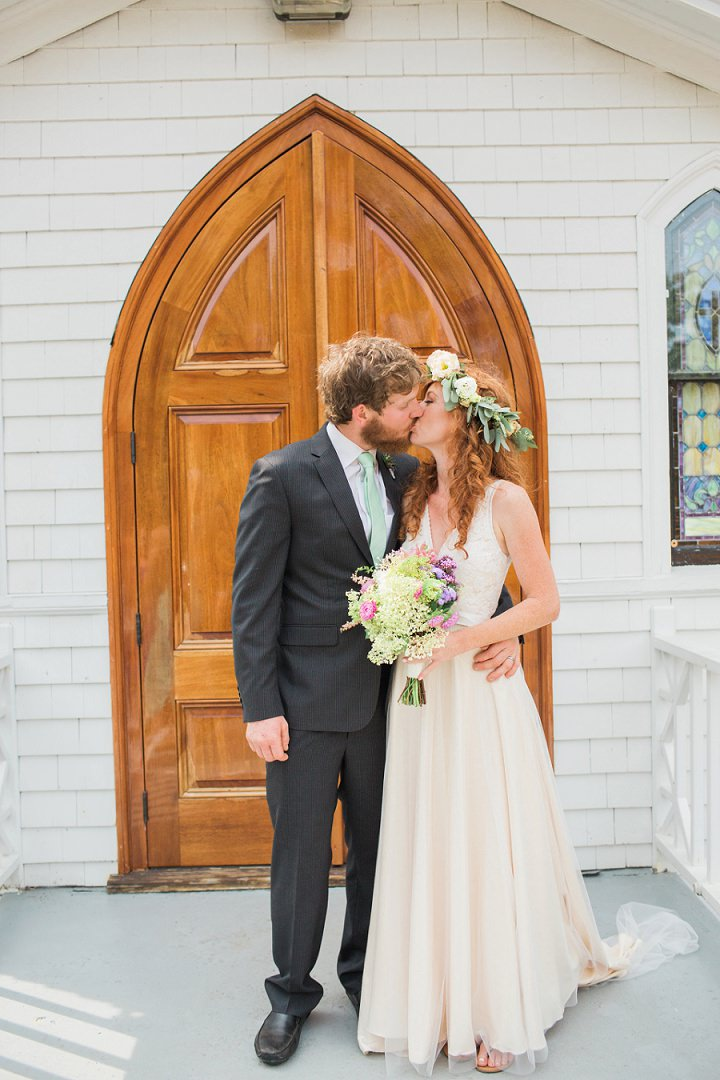 Maine Farm Wedding kissing By Maine Tinker Photography