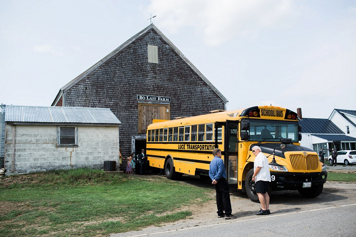 Maine Farm Wedding school bus By Maine Tinker Photography