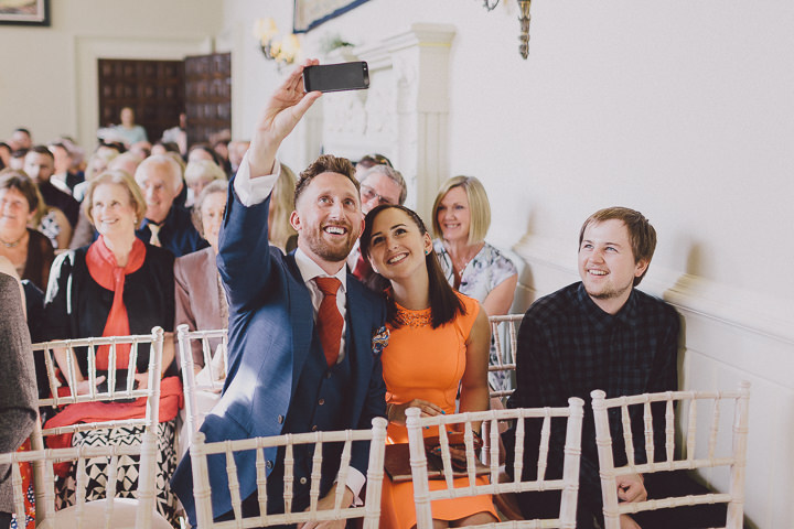 Autumnal Elmore Court weddinf guests Gloucestershire Wedding By Scuffins Photography