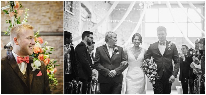 Barn Wedding bride walking the aisle in Hereford By Gemma William's Photography