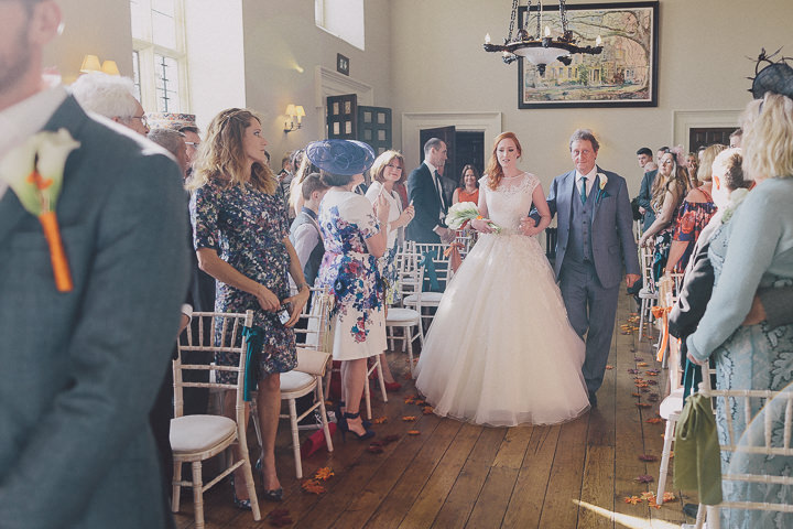 Autumnal Elmore Court nrevous bride Gloucestershire Wedding By Scuffins Photography