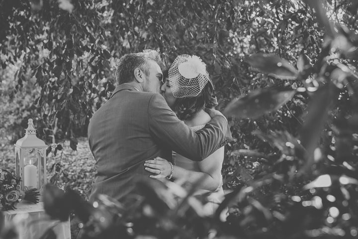 Chloe and Paul's Outdoor Autumn Wedding first kiss in North Wales By Lottie Elizabeth Photography