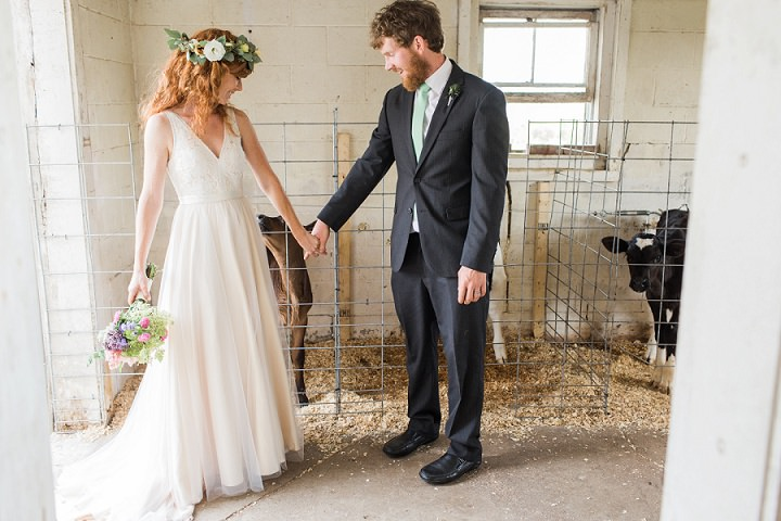 Maine Farm Wedding bride and groom By Maine Tinker Photography