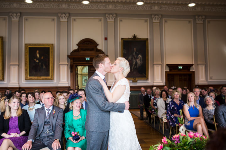 Bride and groom kissing Vintage Inspired Great Yarmouth Town Hall Wedding By Tatum Reid Photography