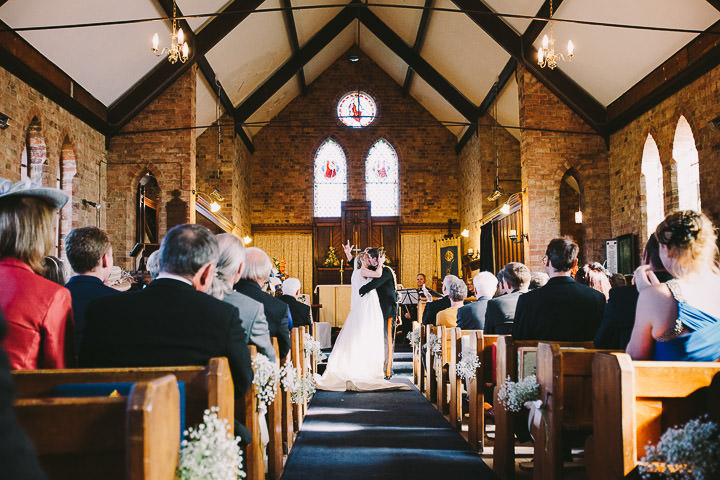 Warwickshire Wedding first kiss By Kevin Belson Photography