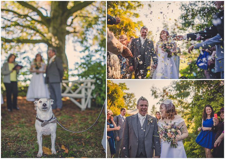 Chloe and Paul's Outdoor Autumn Wedding dogs at weddings in North Wales By Lottie Elizabeth Photography