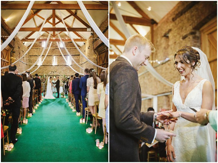 Barn Wedding exchange of rings in Hereford By Gemma William's Photography