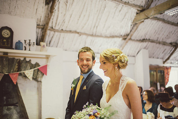Handmade Wedding bride and groom at The Thatched Cottage in Derry by Paula Gillespie