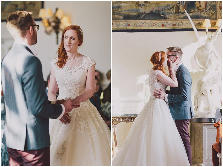 Autumnal Elmore Court just married first kiss Gloucestershire Wedding By Scuffins Photography
