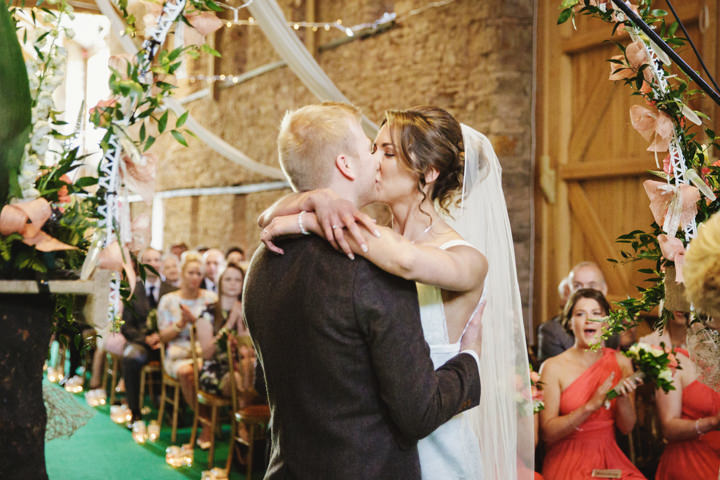 Barn Wedding first kiss in Hereford By Gemma William's Photography