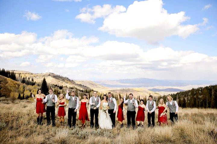 Wedding at Log Haven Restaurant in Utah Wedding bridal party outdoors By Pepper Nix Photography