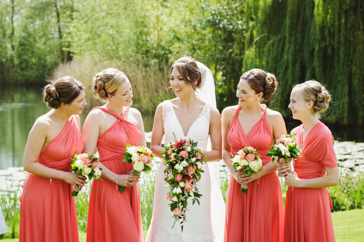 Barn Wedding bridesmaids in coral in Hereford By Gemma William's Photography