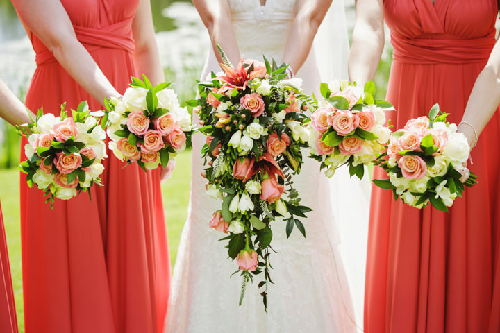 Barn Wedding waterfall bouquet in Hereford By Gemma William's Photography