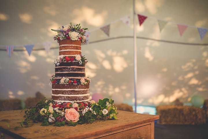 Chloe and Paul's Outdoor Autumn Wedding Naked Cake in North Wales By Lottie Elizabeth Photography