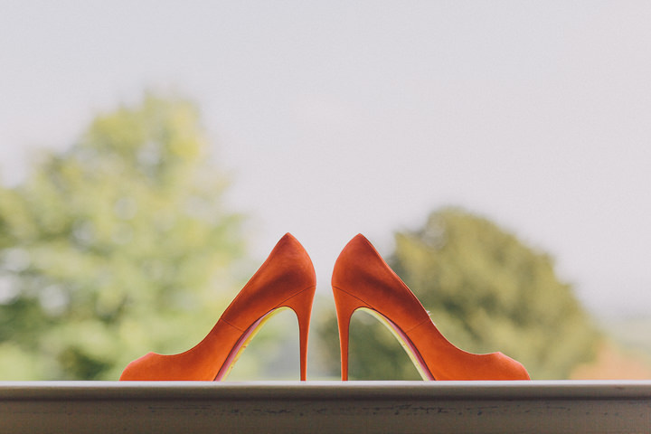 Autumnal Elmore Court Wedding Shoes in orange Gloucestershire Wedding By Scuffins Photography