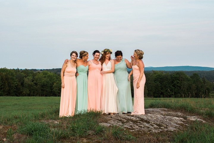 Maine Farm Wedding bridesmaids By Maine Tinker Photography