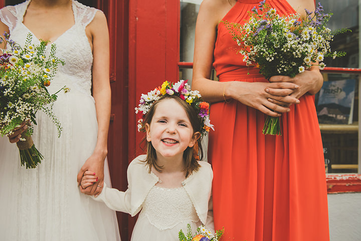 Handmade Wedding flowergirl at The Thatched Cottage in Derry by Paula Gillespie