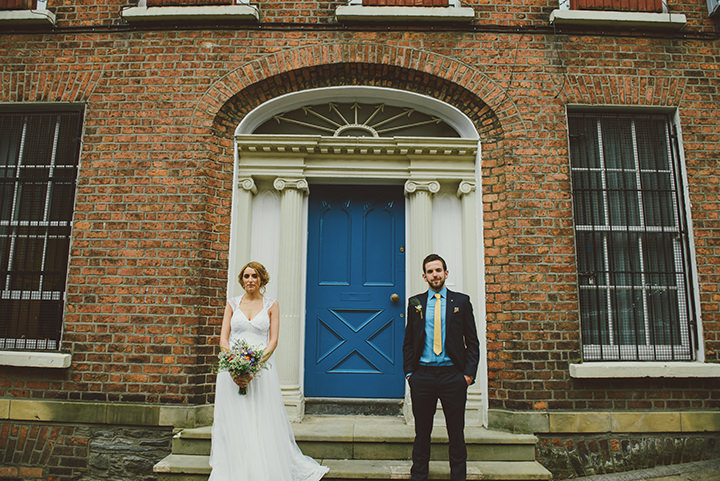 Handmade Wedding couple outside at The Thatched Cottage in Derry by Paula Gillespie