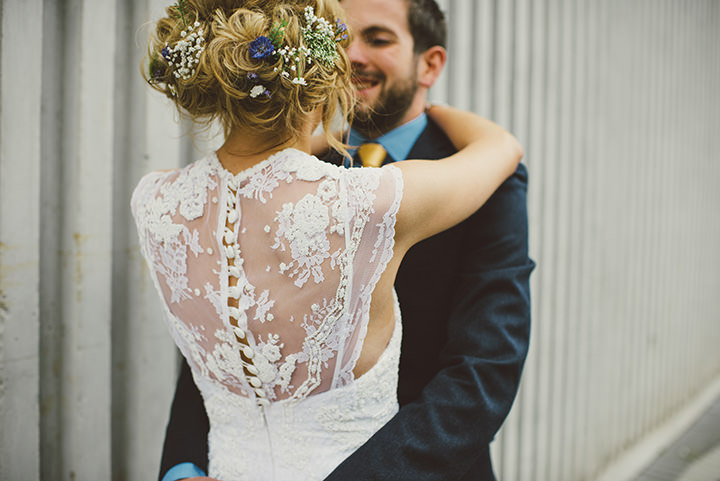 Handmade Wedding lace back dress at The Thatched Cottage in Derry by Paula Gillespie