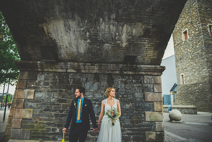 Handmade Wedding couple outdoors at The Thatched Cottage in Derry by Paula Gillespie