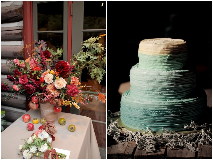 Wedding at Log Haven Restaurant in Utah with ombre Wedding cake By Pepper Nix Photography