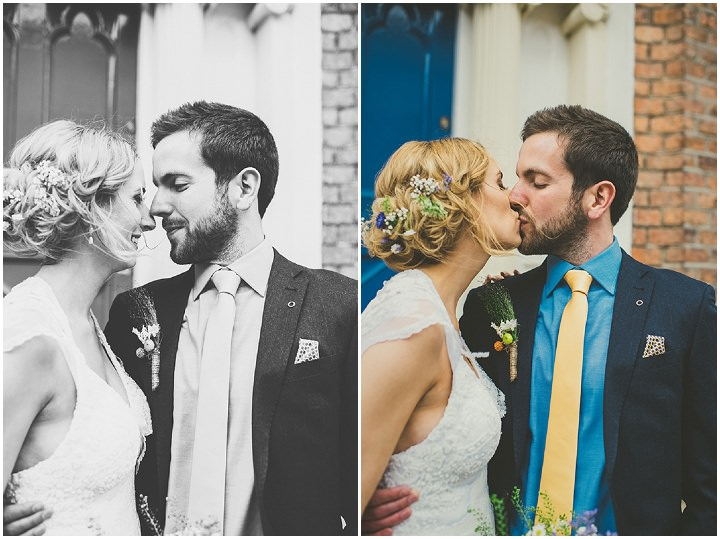 Handmade Wedding couple kissing at The Thatched Cottage in Derry by Paula Gillespie