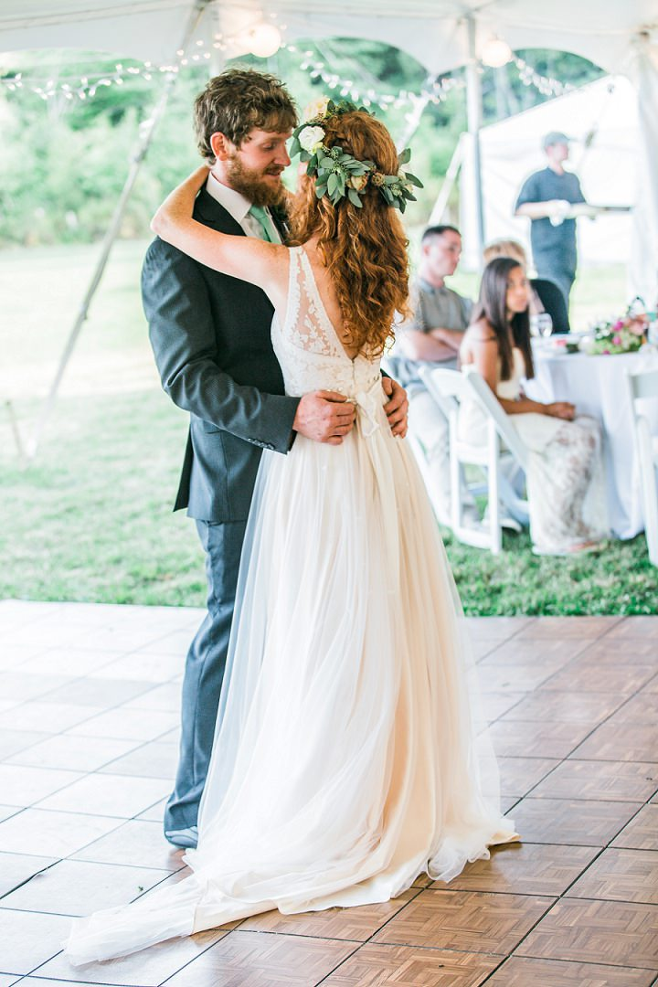 Maine Farm Wedding first dance By Maine Tinker Photography