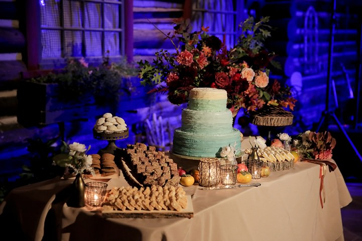 Wedding at Log Haven Restaurant with dessert station in Utah Wedding By Pepper Nix Photography