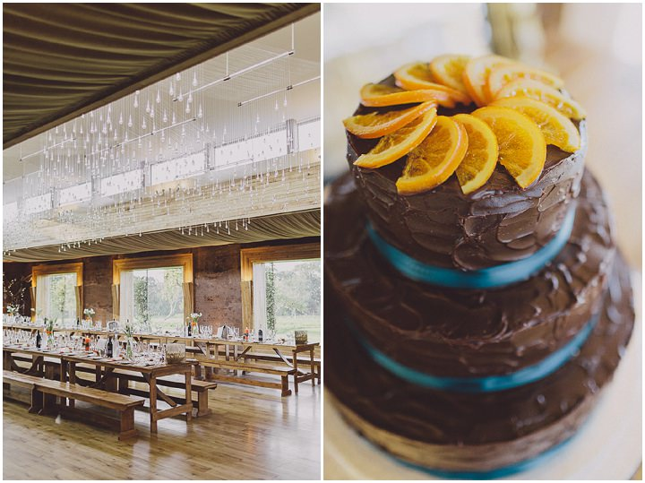Autumnal Elmore Court Gloucestershire chocolate wedding cake Wedding By Scuffins Photography