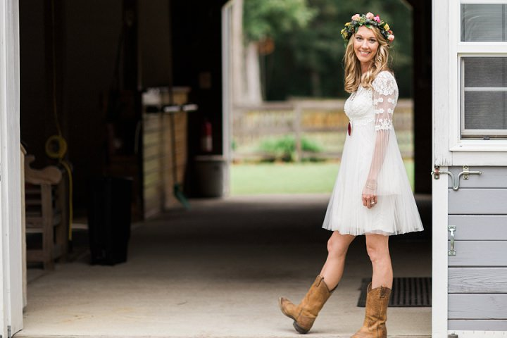 North Carolina bride wearing cowboy boots Wedding By Heather and Jared Photography