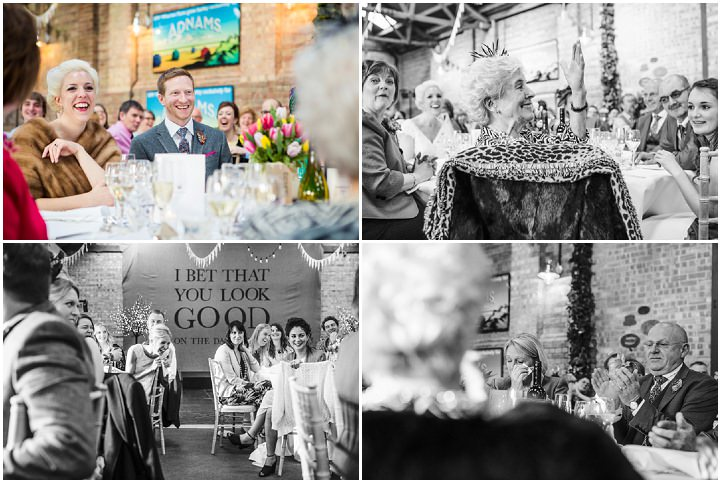 Bride and groom Vintage Inspired Great Yarmouth Town Hall Wedding speeches By Tatum Reid Photography