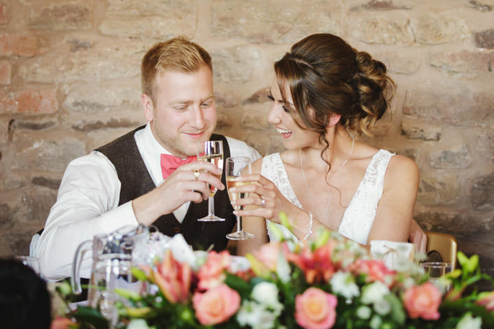 Barn Wedding champagne in Hereford By Gemma William's Photography