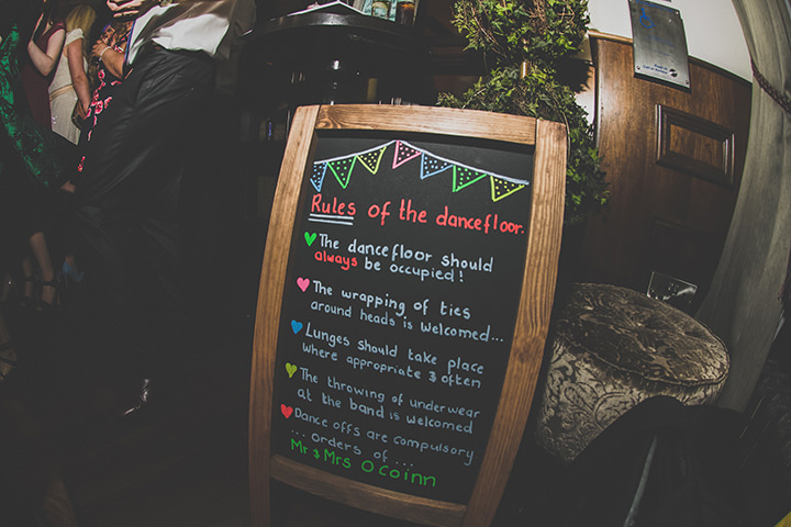 Handmade Wedding dancefloor rules at The Thatched Cottage in Derry by Paula Gillespie