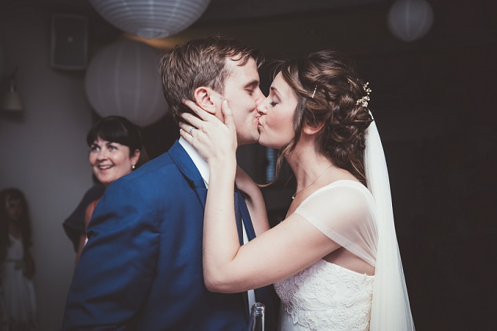 Bride and groom kissing Doddington Hall Lincolnshire Wedding By Phillipa James Photography