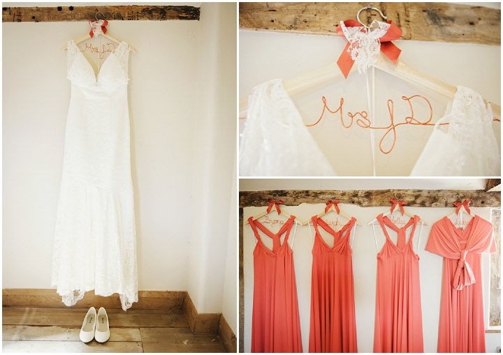 Barn Wedding in Hereford brides dress By Gemma William's Photography
