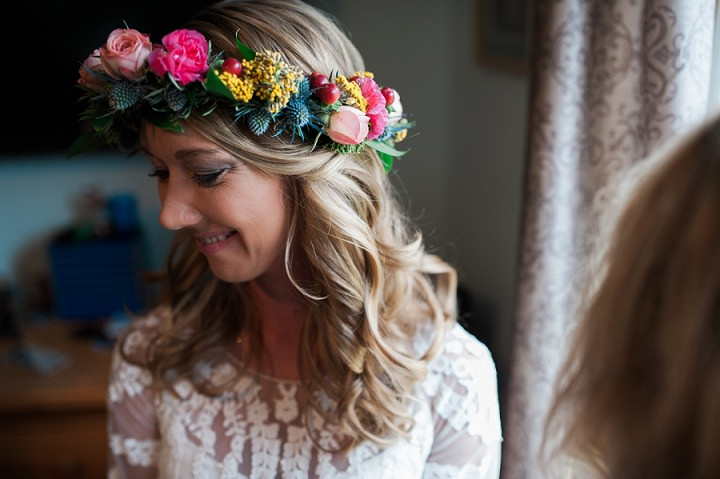 North Carolina flower crown Wedding By Heather and Jared Photography