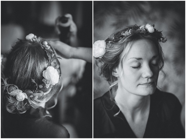 Outdoor Swedish Wedding bride wearing flower crown in Göteborg By Loke Roos Photography