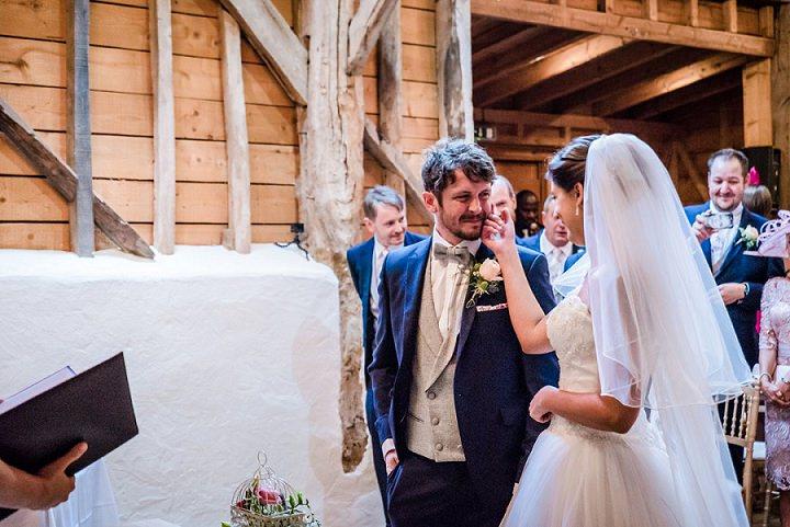 Wedding at Bassmead Manor bride sees groom Barn Cambridge By Dewan Demmer Photography
