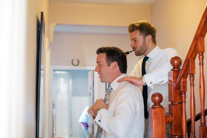 Yorkshire Barmbyfield groom getting ready Barns Wedding By Stott and Atkinson