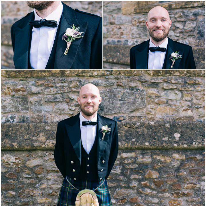 Wedding at The Haymeadow groom wearing kilt in Somerset by This and That Photography