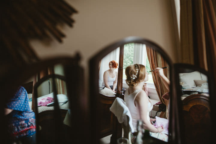 Scottish bride getting ready Wedding with a Claire Pettibone dress By Christopher Currie