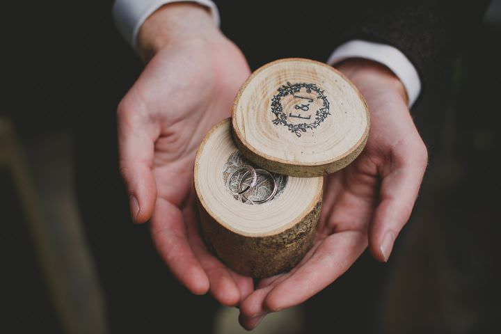 Emily and Jonny's Rustic Peach and Grey wedding rings Barn Wedding By Soul Images