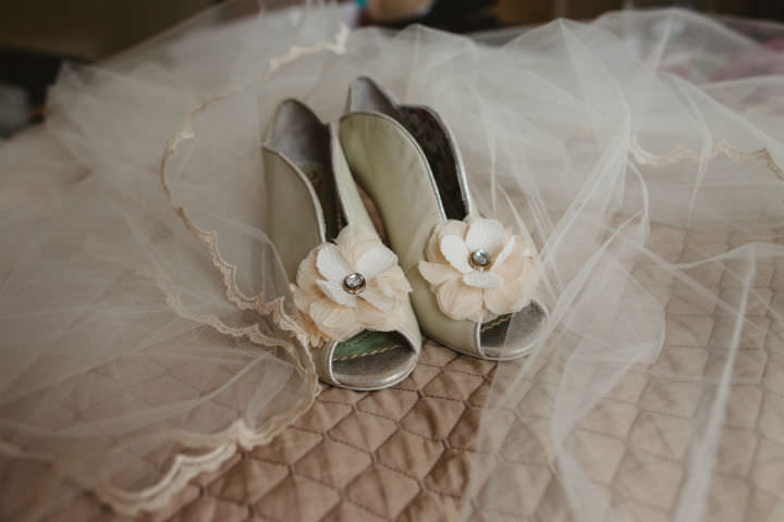 Scottish Bridal Shoes Wedding with a Claire Pettibone dress By Christopher Currie