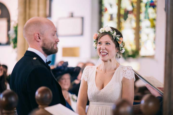 Wedding at The Haymeadow bride wearing flower crown in Somerset by This and That Photography