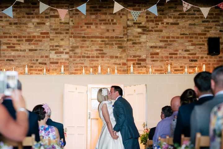 Yorkshire Barmbyfield first kiss Barns Wedding By Stott and Atkinson